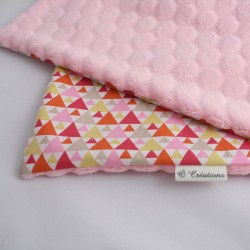 Couverture Nomade Rose - Triangles Fuchsia Orange