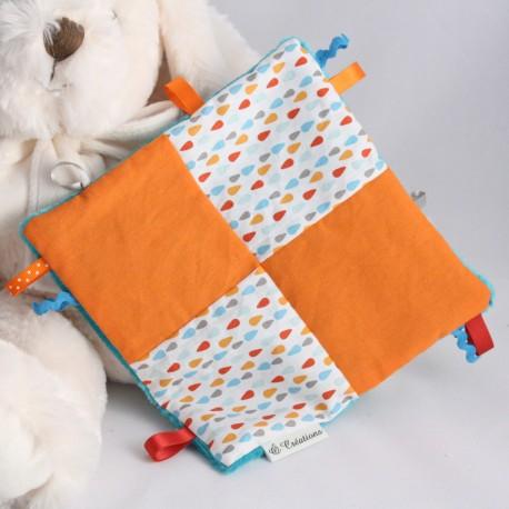 Doudou Vert - Mosaïque Gouttes d'Ô Bleu-Orange/Orange