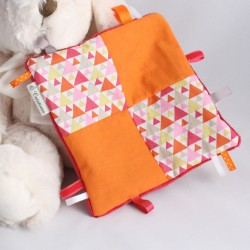 Doudou Fuchsia - Mosaïque Triangles Fuchsia-Orange