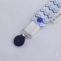 Attaches Tétines Chevrons Bleus - Pince Bleue