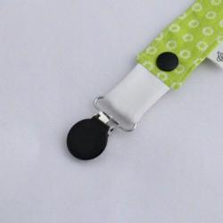 Attache Tétine Vert Pâquerettes - Pince Noire