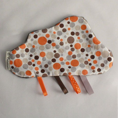 Doudou Nuage Gris - Bulles Orange