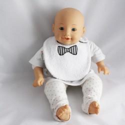 Bavoir 0-6 mois Nœud Pap' Noir et Blanc