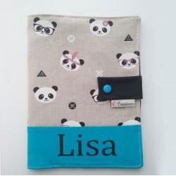 Protège Carnet de Santé Panda Mixte Bleu