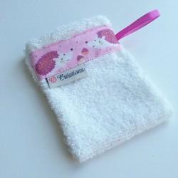 Gant de toilette Blanc Hérissons rose
