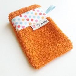 Gant de toilette Orange Pois Multicolors
