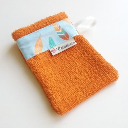 Gant de toilette Orange Plumes Indiens